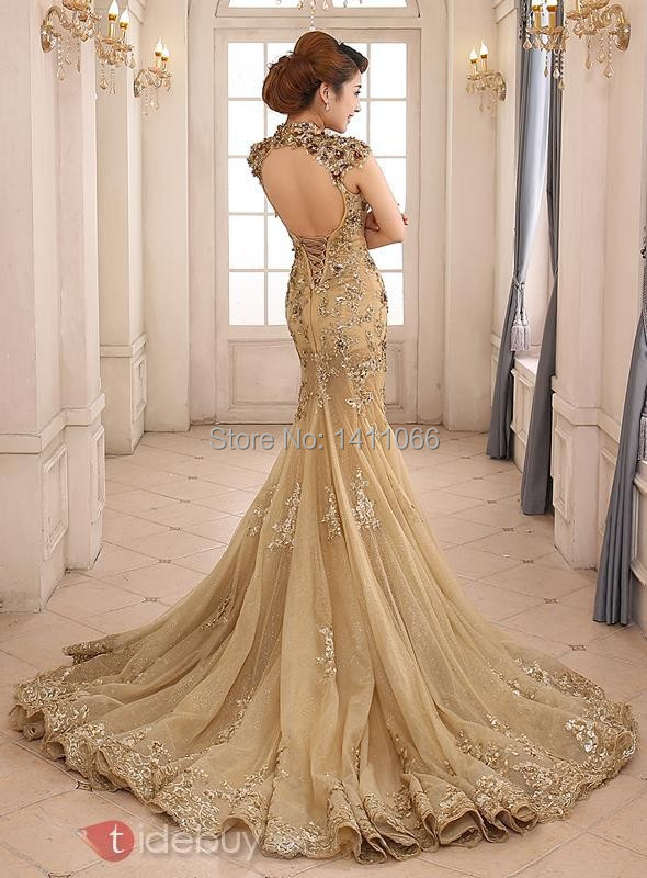 ea7eeda3db0 2014 Luxury Gold Mermaid Wedding Dress High Neck Sheer Illusion Beaded  Applique Sweep Train Backless Bridal Gown-in Wedding Dresses from Weddings    Events ...
