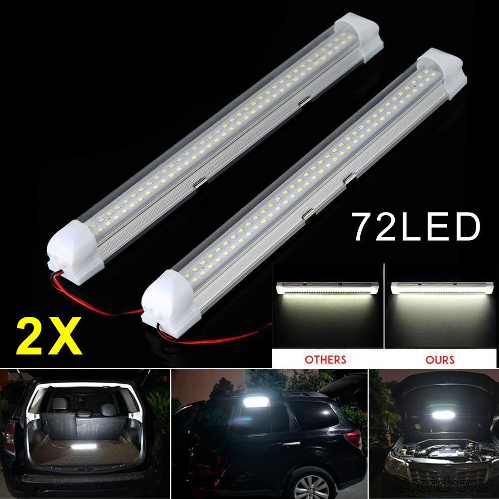 10X 12V 72LED Car Interior White Strip Lights Bar Lamp Van Caravan ON OFF Switch
