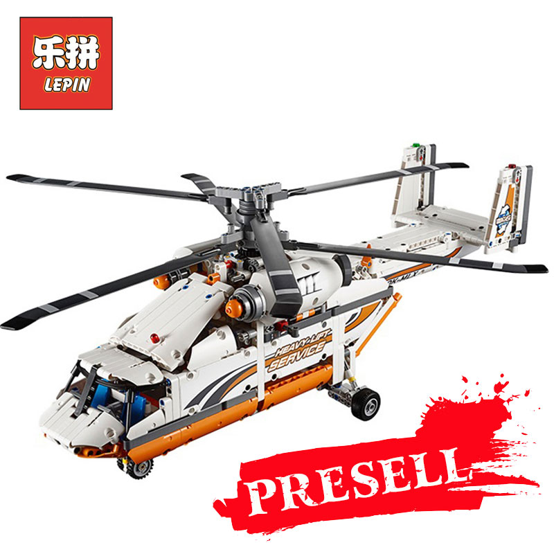 LEPIN 20002 technic series Double rotor transport helicopter Model Building blocks Bricks Compatible LegoINGlys 42052 Boy toys sluban b0367 aviation series international airport building blocks transport aircraft vehicle bricks toys