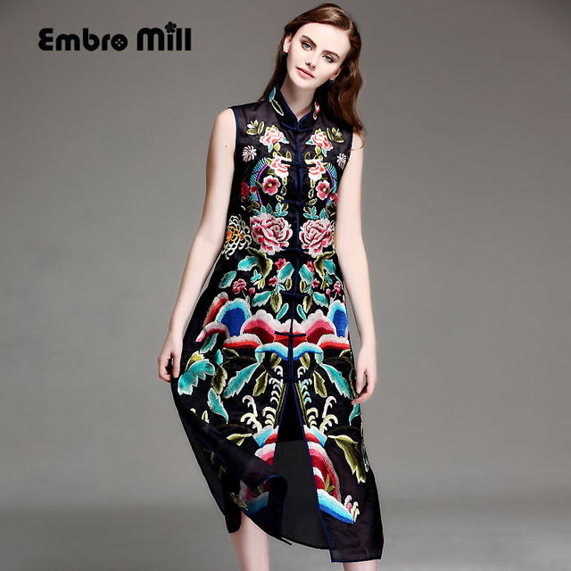 4eb8c7cee97c8 US $128.9 |High end summer women Chinese style floral midi embroidery dress  plus size elegant lady silk organza Qipao party dress M XXXL-in Dresses ...
