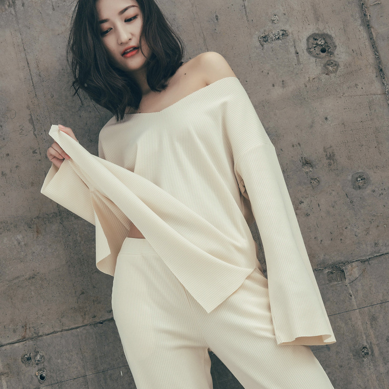 Autumn Long Sleeve Pants Loose   Pajama     Set   Home Clothes Leisure Broad-legged Pants Sleepwear Suit Loungewear Women Pyjamas Pj   Set