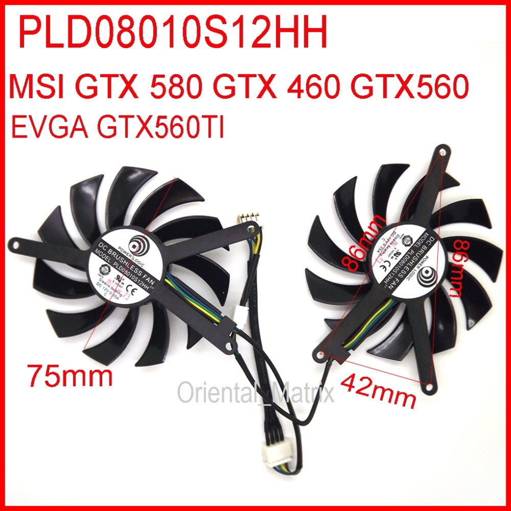Free Shipping 2pcs/lot PLD08010S12HH 12V 0.35A 75mm For MSI GTX580 GTX460 GTX560 EVGA GTX560TI Graphics Card Fan fy08010h12lfa 75mm 12v 0 3a 3pin for gigabyte gtx580 gtx460 gtx470 hd5870 n580so n470so n580ud graphics card cooler cooling fan