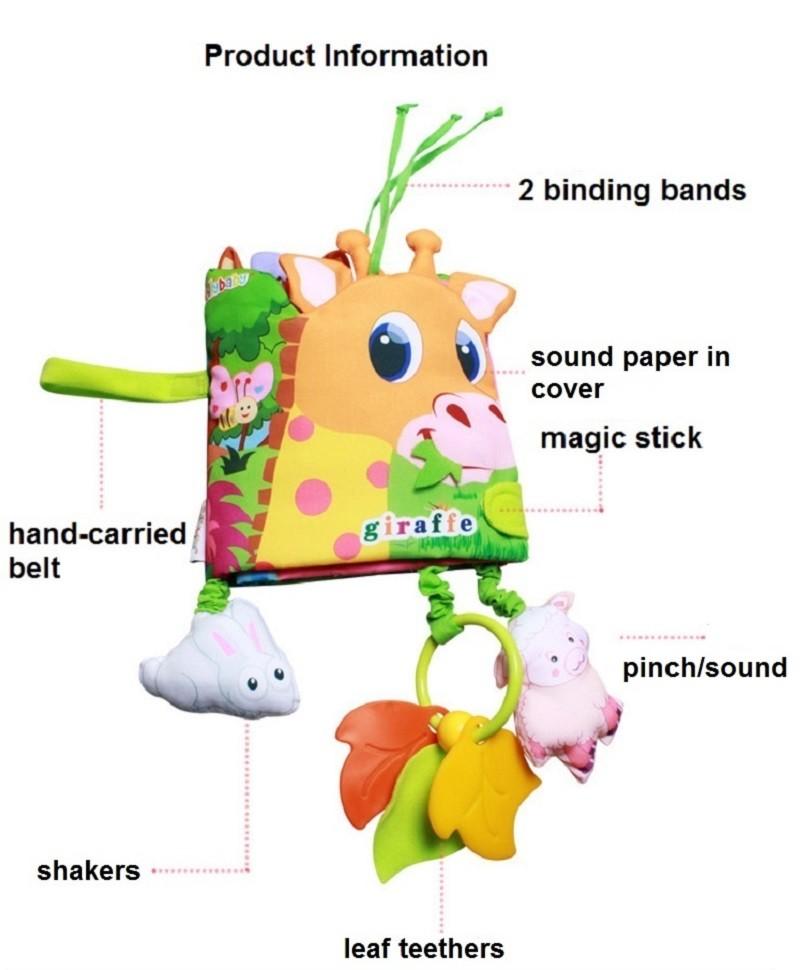 Infant Activity Book Cartoon Animal Soft Baby Educational Toy Cloth Book Plush Animal Story Intelligence Developing Toy KF030 1