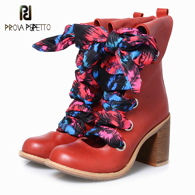 Prova Perfetto England Design Fashion Cross-tied Colorful Narrow Band Boots Cow Gneuine Leather Round Toe Chunky High Heel Boots