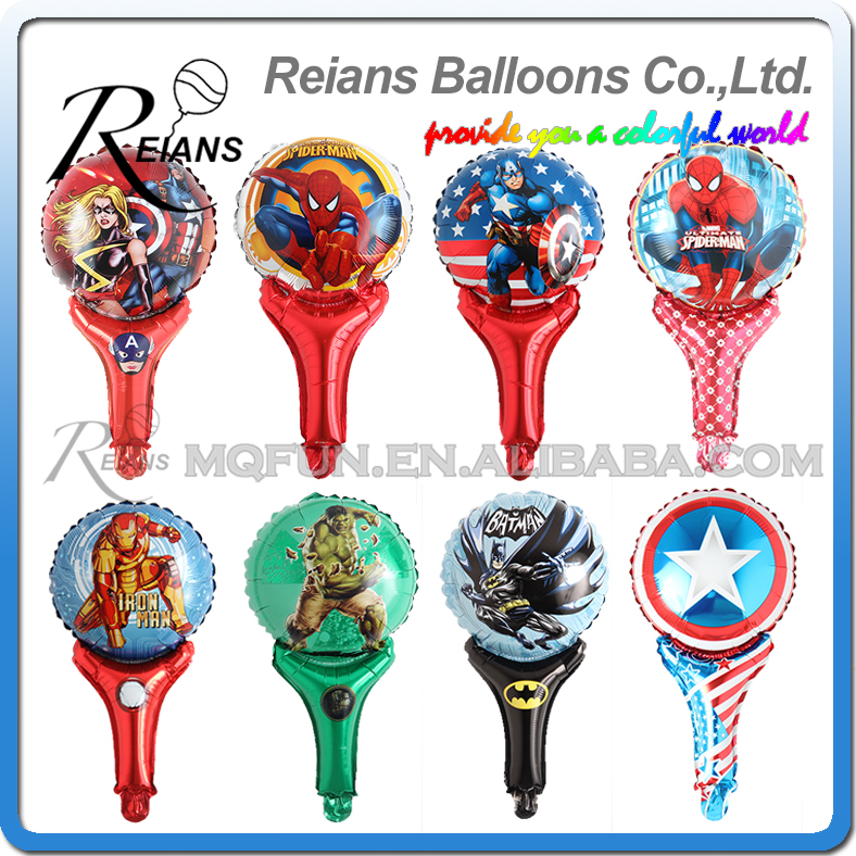5pcs avenger super hero stick balloons cartoon figure handheld foil balloons party supplies birthday party decorations kids toys-in Ballons & Accessories from Home & Garden