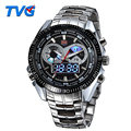 Marca de Relojes de lujo TVG LED Digital Reloj Militar Reloj de Cuarzo 30 m Impermeable Para Hombre de Acero Reloj Hombre Reloj Relogio masculino