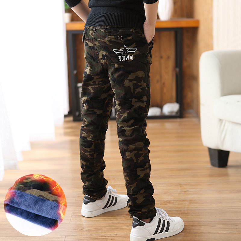 2017 Winter Fleece Boy's Cargo Pants Warm Double Layer Military Camouflage Girls Pants Casual Baggy Tactical Trousers pants baggy hip hop casual night running biker 3m reflective pants parkour jogger outdoor casual harem cargo trousers