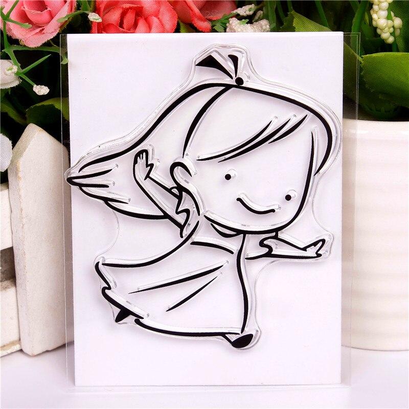 DLKSDI мультфильм девочка пробежка прозрачный силиконовый штамп DIY печать