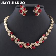 Jiayijiaduo Wedding Dress Jewelry Sets for Charm of Women Red Black Necklace Earrings Sets of Chain Party Gift Drop Shipping(China)