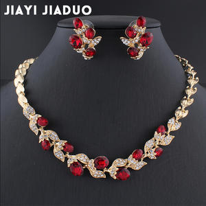 Jewelry-Sets Necklace Wedding-Dress Black Chain Women Jiayijiaduo for Charm of Red Party-Gift