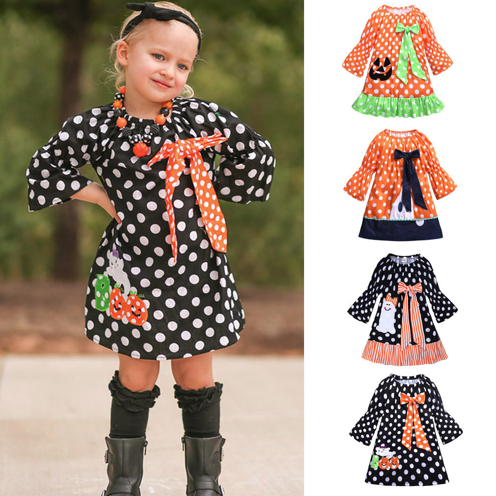 Toddler Kids Baby Girls Dot Bowknot Embroidery Dresses  fashion  High Quality Materials Halloween Costume Outfits Baby  Dresses