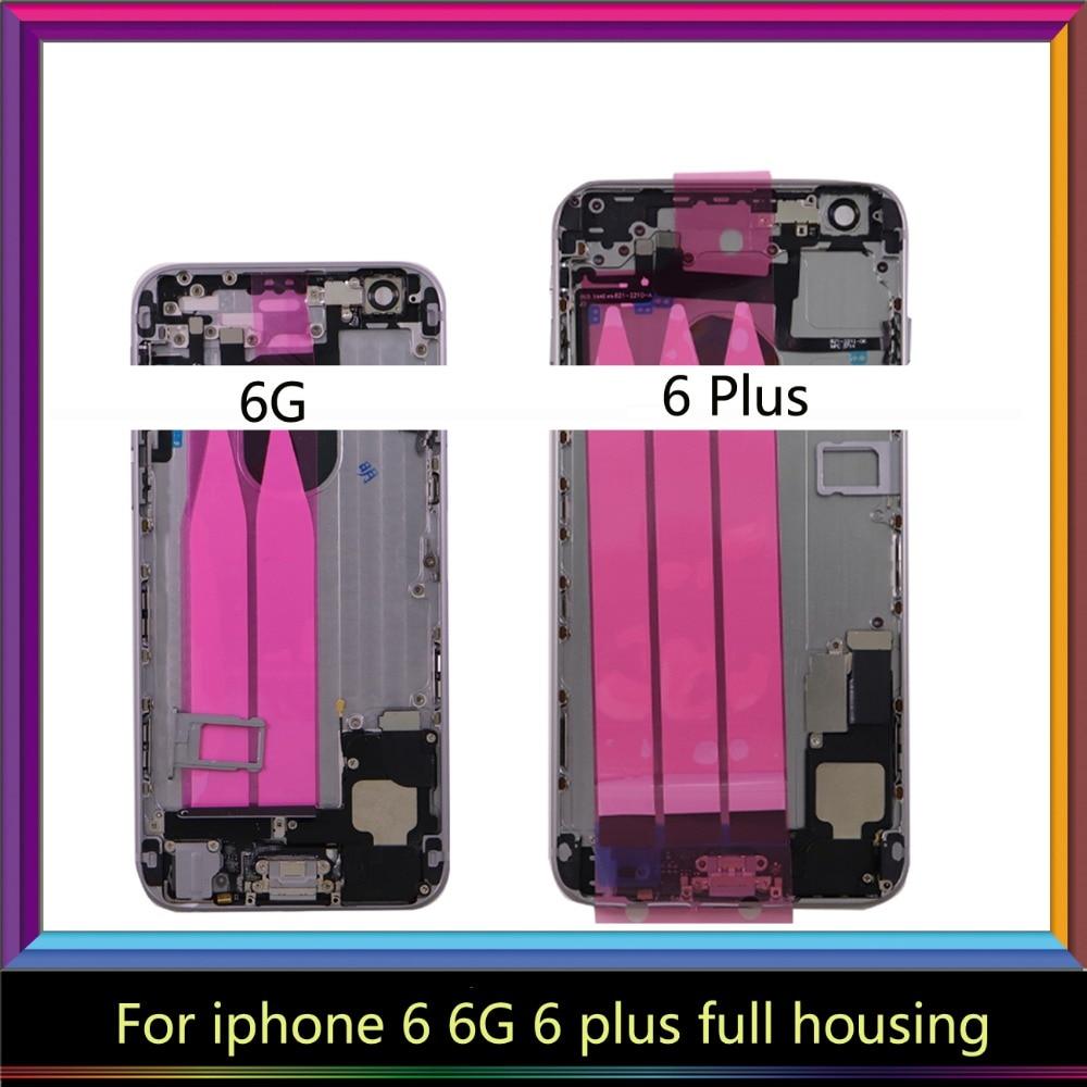 Carcasa completa de cuerpo de la puerta de la cubierta de la batería con la bandeja Sim con el montaje del Cable flexible para Iphone 6 6G 6 Plus/6 s 6 s Plus imei