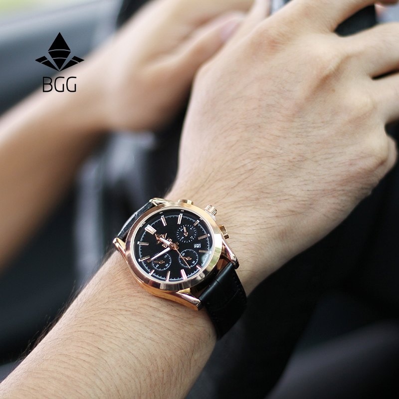 BGG Men Quartz Watches Luxury Band Fashion Casual Wristwatches 30M Water Resistant Complete Calendar Leather Watch Man
