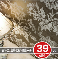 Free Shipping 10 Meters Wall Stickers Wall Paper Wallpaper Brief Fashion Rustic Flower Velvet Wallpaper Tv