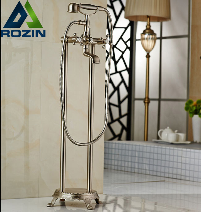 Nickel Brushed Floor Mount Bathroom Waterfall Free Standing Bath Tub Faucet Set Bathtub Mixer Faucet with Handshower oil rubbed bronze waterfall tub mixer faucet free standing floor mount bathtub faucet with handshower