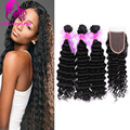 7A Brazilian Deep Wave With Closure Brazilian Virgin Hair Bundles With Lace Closure 100% Unprocessed Human Hair Bundles FREE DHL
