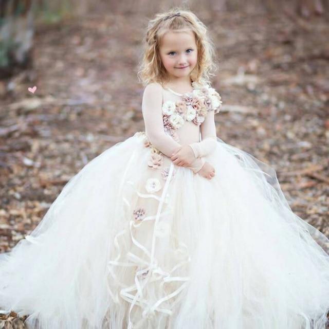 b5827abc019 Beauty Ivory Flower Girl Dresses O Neck Long Sleeves Kids Communcation Dress  Tulle Floor Length Birthday Gown Baby Custom Made