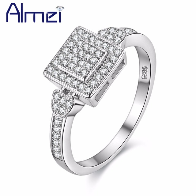 15% Off Square Jewelry Ring For Women Fashion Silver Color Rings With Micro Pave Stones Anel Bague femmes Anillos Mujer Y010