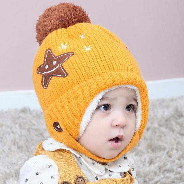 Winter Newborn Baby Knitted Hat Warm Fleece Thicken 5 Star Smile