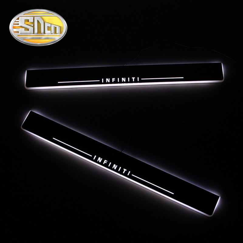 SNCN Waterproof Acrylic Moving LED Welcome Pedal Car Scuff Plate Pedal Door Sill For Infiniti Q50 Q70 2013 2014 2015 free ship rear door of high quality acrylic moving led welcome scuff plate pedal door sill for 2013 2014 2015 audi a4 b9 s4 rs4 page 7