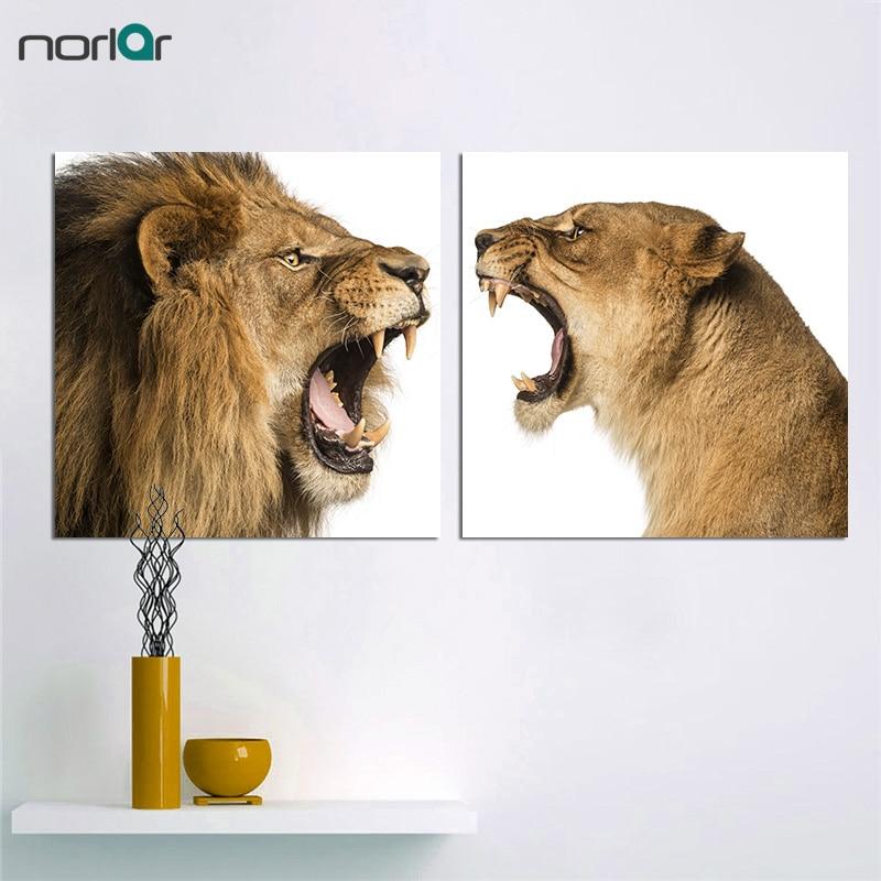 Velké zvířecí plátno Tisk na stěnu Umělecké obrazy na plátně pro obývací pokoj Domácí dekorace Close-up of Lion Lions-2kscs No Frame