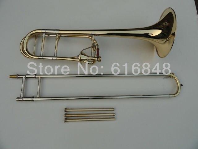 Trombón de alto nivel plateado y chapado en oro cónico Bb tono trombón Edward en B tubos planos dibujado trombón instrumentos musicales