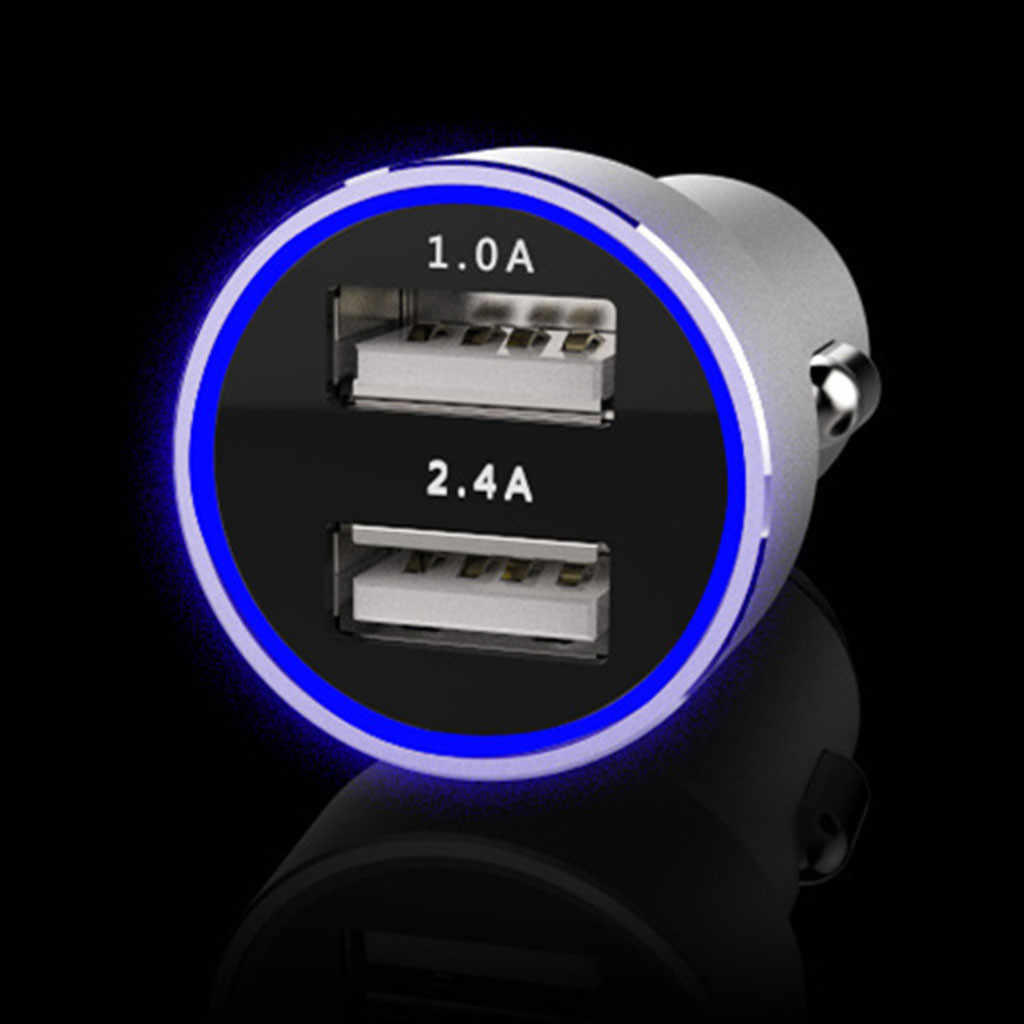 Adaptador de Cargador de aluminio para teléfono móvil USB Dual de uso General Compatible con dispositivos USB multiespecies Cargador de coche