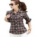 Camisa de Algodão Xadrez Feminino das mulheres Blusa Da Moda Camisa de Manga Comprida Xadrez Turn-down Collar Blusas Femininas M-XXL HS1268