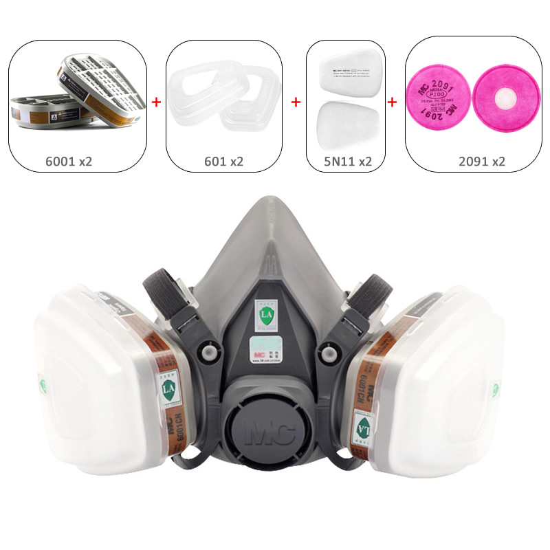 NEW Industrial 9-In-1 6200 Half Face Dust Mask Gas Respirator Dual Filters For Painting Spraying House Clean Work Safety 11 in 1 suit 3m 6200 half face mask with 2091 industry paint spray work respirator mask anti dust respirator fliters