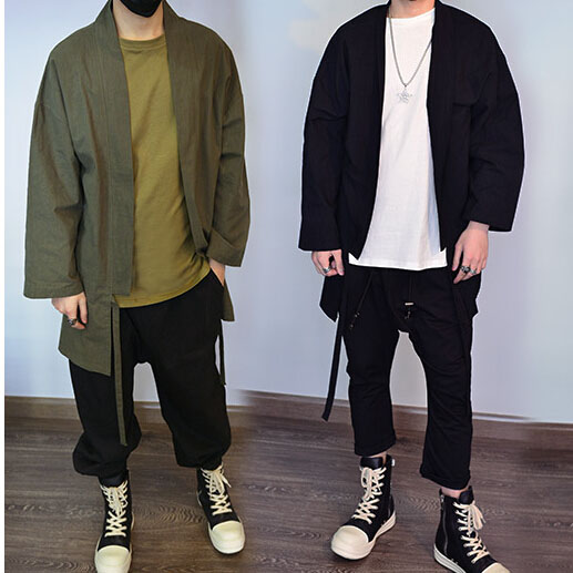 3 Colors Black Army Green And Gray Mens Oversized Kimono Streetwear