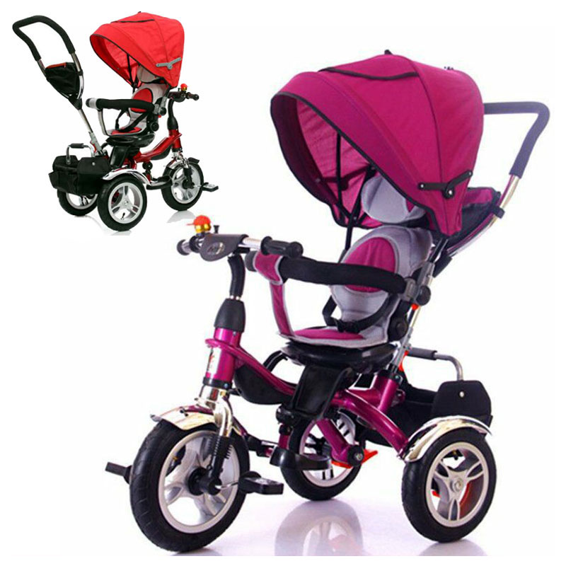 Rotary Chair Child Tricycle Bicycle Baby Three Wheels Stroller Umbrella Trolley Trike Baby Carriage Flat Lying Pushchair Pram|prams pushchairs|pram baby carriage|pram umbrella -
