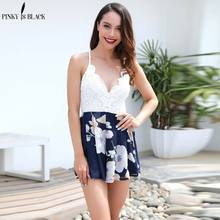 hot deal buy pinkyisblack sleeveless summer style beach rompers women jumpsuit ladies sexy backless strap lace spliced chiffon print rompers