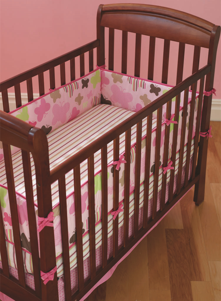 5pcs Embroidery Cotton Crib Bed Linen Kit Cartoon Baby Cot Bedding Set Bed Sheet,include (4bumper+bed Cover)