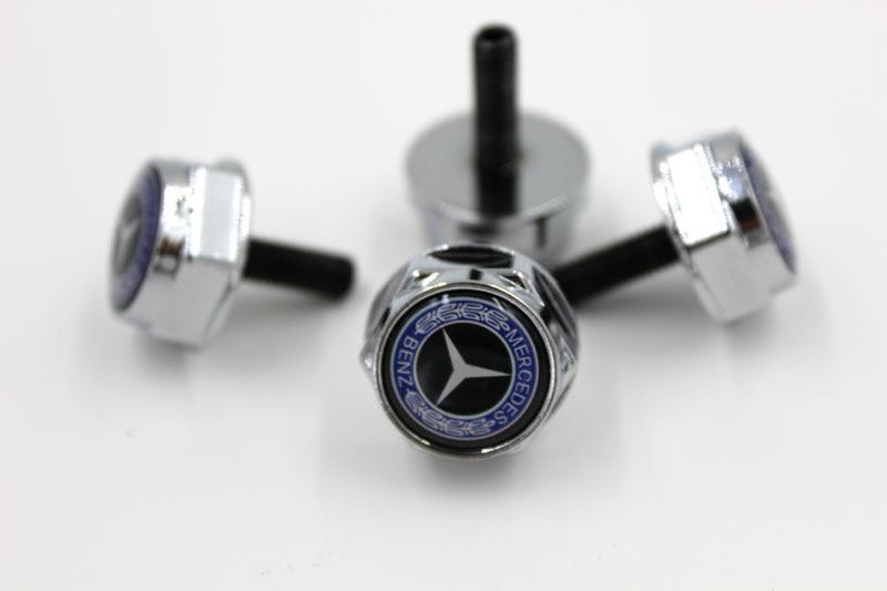 Buy 4pcs chrome license plate bolt frame for Mercedes benz tag screws