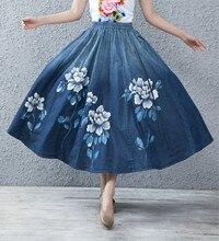 2019 New Vintage Denim Long Maxi Skirt for Women Summer Spring Nation Style Elastic High Waist A-line Hand Painted Floral Skirt