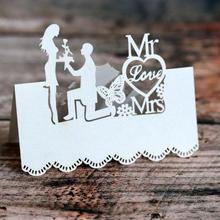 """100 шт./лот """"MR& MRS"""" Лазерная резка высокое качество именные карточки на стол Свадебная вечеринка место карты украшения Mark"""