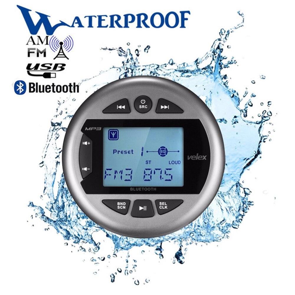 Marine Waterproof Bluetooth Digital Media Stereo Receiver Car MP3 Player FM AM Radio Audio USB For