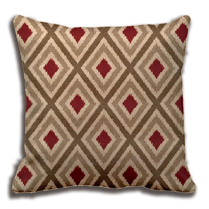 ikat tribal diamond pattern khaki red tan pillow decorative cushion cover pillow case customize gift by