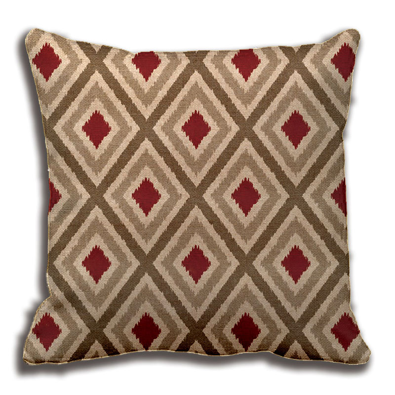 Ikat Tribal Diamond Pattern Khaki Red Tan Pillow Decorative Cushion Unique Red And Brown Decorative Pillows