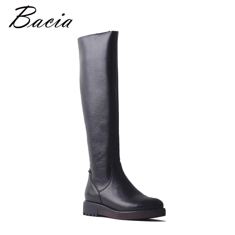 Bacia Haute Qualité Chaussures Femmes En Cuir Véritable Laine Overknee Bottes Chaud D'hiver De Mode Dames Marche Bottes Arbre longueur 49 cm SB085