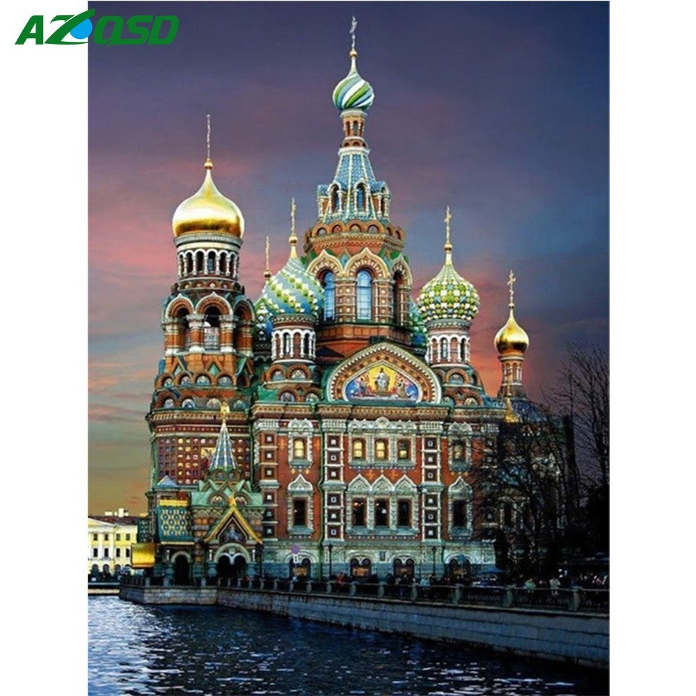 AZQSD 5D DIY Berlian Bordir Landscape Gereja Dekorasi Rumah Berlian Lukisan Cross Stitch St Petersburg Wall Art BB2153