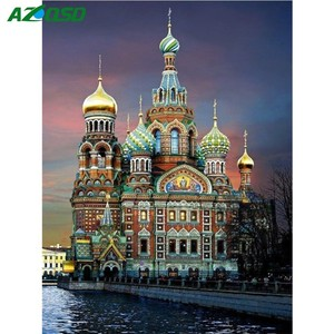 AZQSD Diamond Painting Cross Stitch Scenic 5D DIY Diamond Embroidery Landscape Church Home Decoration St.Petersburg Wall Art