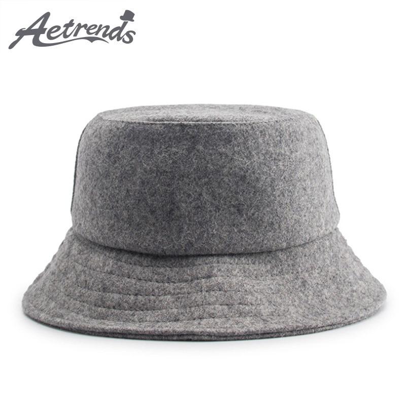 [AETRENDS] Winter Wool Cap Bucket Hat Women Men Hip Hop Hats Wool Fisherman Hat Mens Panama Chapeau Japanese Flat Cap Z-6587