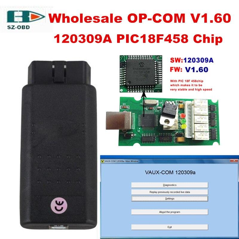 Цена за Новейшие V1.60 Прошивки OP COM OPEL OPCOM Программное Обеспечение 120309A OP-COM CAN BUS Сканер OBDII Диагностический Инструмент Для Opel PIC18F458 Чип