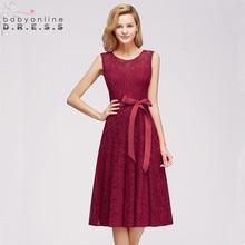 Elegant Burgundy Plus Size Lace Cocktail Dresses 2019 Sexy Illusion Short Party With Detachable Sashes Robe De