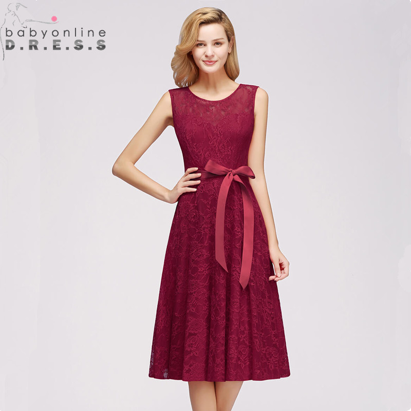 Elegant Burgundy Plus Size Lace   Cocktail     Dresses   2019 Sexy Illusion Short Party   Dresses   With Detachable Sashes Robe De   Cocktail
