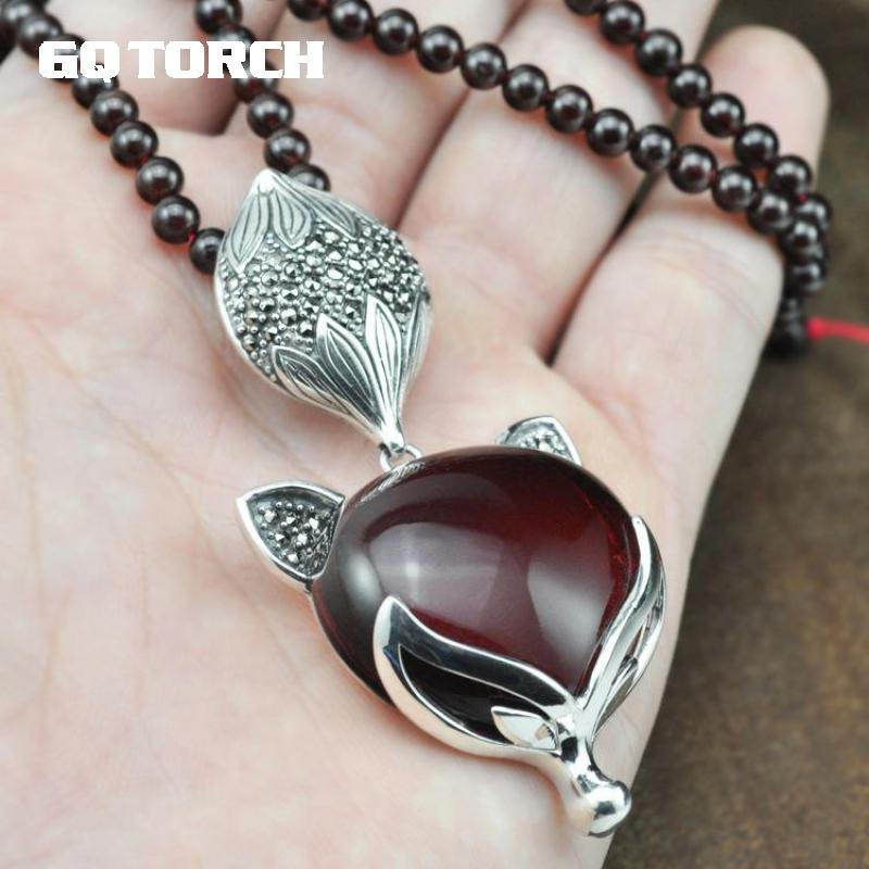 Necklaces & Pendants 925 Sterling Silver Fox Pendant With Natural Yellow Black Agate Stone Red Garnet Sweater Chain For Women 925 silver green yellow chalcedony agate pendant buckle female sweater chain large round jade pendant