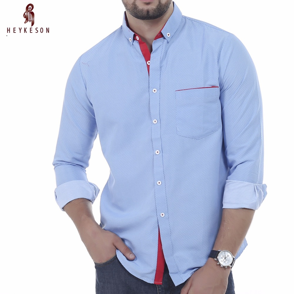 Heykeson Brand 2018 Dress Shirts Mens Polka Dot Shirt Slim