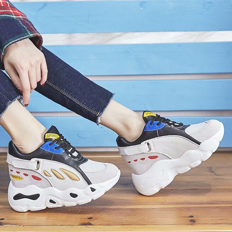 Dumoo Autumn Height Increasing Shoes Women Sneakers Ins Hot High Heel 8cm Leisure Platform Wedges Casual Shoes zapatillas mujer