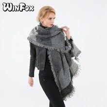 Winfox Luxury Brand Winter Grey Fringe Blanket Scarf For Women Cashmere Shawl Cape Ladies Warm Thicker Scarves Foulard Mujer
